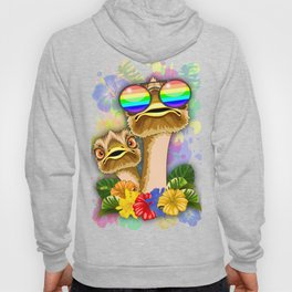 Ostrich Hawaii Fashion Funny Dudes Hoody