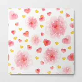 Watercolor flowers and hearts Metal Print