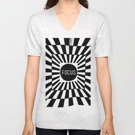 Black and White Focus (Customizable Label) Unisex V-Neck