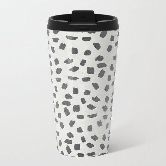 Simply Ink Splotch Green Tea on Lunar Gray Metal Travel Mug