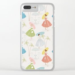 Women With Parasols Mid Century Summer Clear iPhone Case