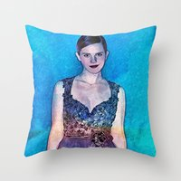 emma watson Throw Pillows featuring Emma Watson - Blue by André Joseph Martin