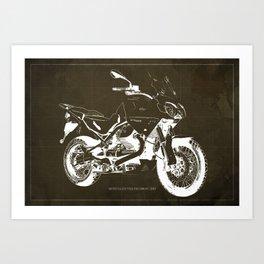 2010 Moto Guzzi Stelvio 1200 4V brown blueprint Art Print