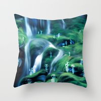 kodama Throw Pillows featuring Kodama by Carles Marsal
