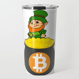 Leprechaun Bitcoin Pot Of Gold St Patricks Day HODL Travel Mug
