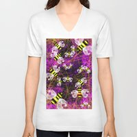 bees V-neck T-shirts featuring Bees by Marven RELOADED