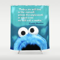 motivational Shower Curtains featuring Cookie Monster Motivational by Tiffany Taimoorazy