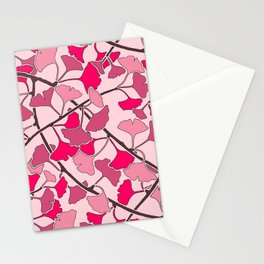 Ginkgo Leaves in Vibrant Hot Pink Tones Stationery Cards
