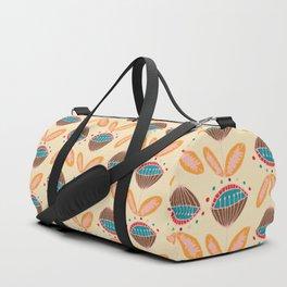 Mid Century Beige Floral Pattern Duffle Bag