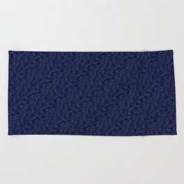 Muted '90s Fern Background Grid at Dusk – Deep Blue Beach Towel