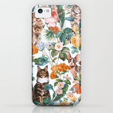 Cat and Floral Pattern III iPhone 5c Slim Case