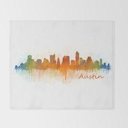 Austin Texas, City Skyline, watercolor  Cityscape Hq v3 Throw Blanket