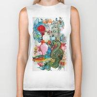dragon Biker Tanks featuring Dragon by oxana zaika