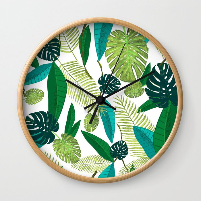 Tropical Green Leaves Wall Clock