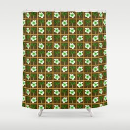 Hawaiian Hibiscus Flowers Palm Trees Shower Curtain