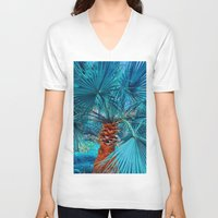 palm tree V-neck T-shirts featuring Palm Tree by DistinctyDesign