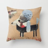 poodle Throw Pillows featuring Poodle by Natalie Pudalov