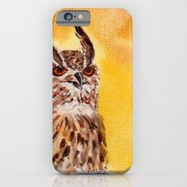 owl-middle owl-hibou moyen duc iPhone Case