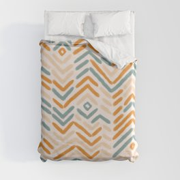 Zigzag vintage hand drawn illustration pattern. Geometrical colorful Abstract striped repeat background in pastel colors. Duvet Cover
