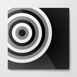 Retro Pop Art Circles - Black Grey White Metal Print