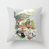 chihiro Throw Pillows featuring Chihiro by Alba Palacio