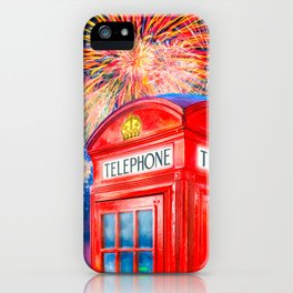 Fun Fireworks Over An Iconic Red British Phone Box iPhone Case