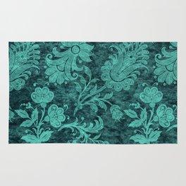 Burgundy Turquoise Velvet Floral Pattern 10 Rug