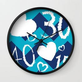 Chevron Tennis Blue Wall Clock