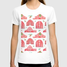 Watercolor Snowy Red Holiday Barns T-shirt