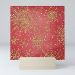 Red and Gold Snowflakes Mini Art Print