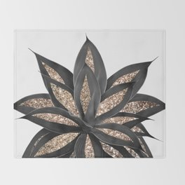 Gray Black Agave with Gold Glitter #2 #shiny #tropical #decor #art #society6 Throw Blanket