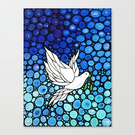 Peaceful Journey - Vibrant white dove by Labor Of Love artist Sharon Cummings. Canvas Print