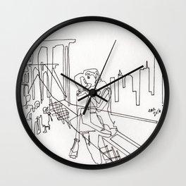 Sloppy Bridge Kiss - LINE DRAWING Wall Clock