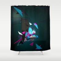 skateboard Shower Curtains featuring Alien Monster Skateboard by IAMLUIGI