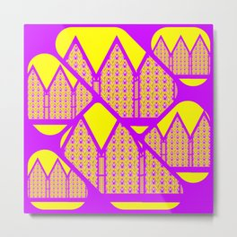 City of Violets and Yellows Metal Print