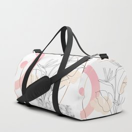 Tropical minimal / marble and bird of paradise plant Duffle Bag