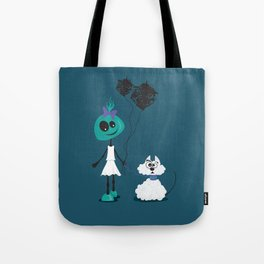 Extraterrestrial girl and her pet Tote Bag