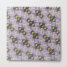Honey Bees on Purple Metal Print