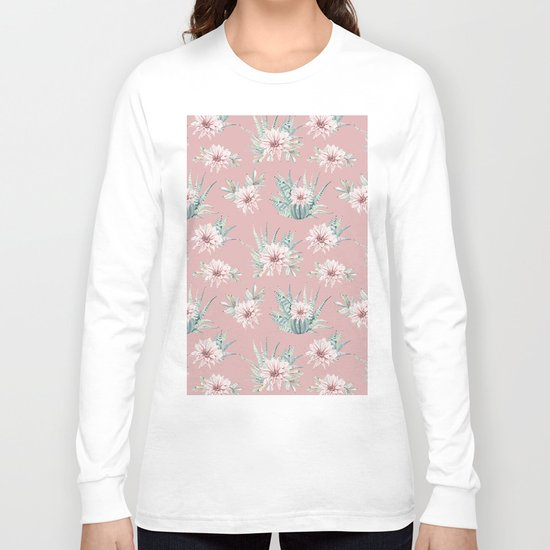 Echeveria Garden Roses Coral Rose Pink Long Sleeve T-shirt