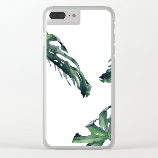 Tropics Palm Leaves Green Clear iPhone Case