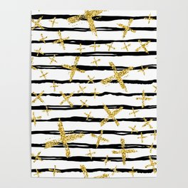 Pattern with brush stripes and gold glitter cross Poster