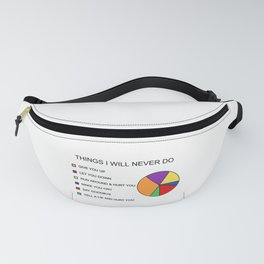 Things I Will Piechart Never Do Fanny Pack
