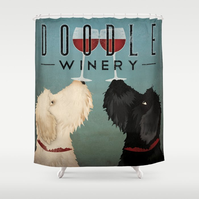 Doodle Goldendoodle Labradoodle Schoodle Whoodle Winery Shower Curtain