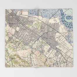 Old Map of Palo Alto & Silicon Valley CA (1943) Throw Blanket
