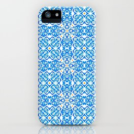 Tangerine and Blue Deco Pattern iPhone Case
