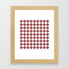 Rustic Farmhouse Checkers in Brick Red and White Framed Art Print