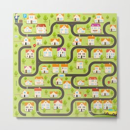 Vector Funny Maze Game. Map of Cartoon Small Town Metal Print