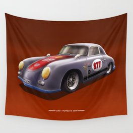 Porsche 356 Illustration Wall Tapestry