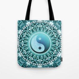 Tranquility Yin Yang Blue Aqua Mandala Tote Bag