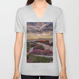 Headon Hill Sunset Isle Of Wight Unisex V-Neck